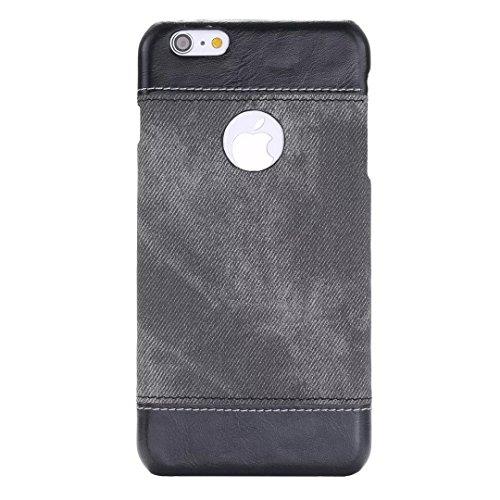 iPhone Case Cover Mode Cowboy texture Housse en cuir dur avec trou rond pour IPhone 6 6S Plus ( Color : Coffee , Size : IPhone 6 6S Plus ) Dark Brown