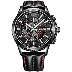 BUREI® Men's Luminous Chronograph Day and Date Watch with Black Calfskin Band, Black Bezel Black Dial
