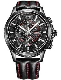 Burei® Luminous Tag und Datum Chronograph für Herren mit schwarzem Kalbsleder Band, schwarze Lünette Silber Hand