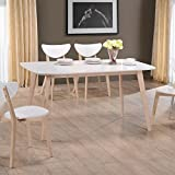 lounge-zone Moderner Esstisch Esszimmertisch Tisch RANIZ Tischplatte weiß Tischbeine Massivholz Holz weiß gekalkt 13624