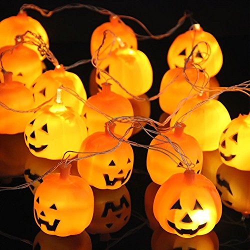 10er LED Lichterkette – batteriebetriebene und lange Halloween 3D Kürbis Deko Beleuchtung – Ideale Dekoration für (Halloween Bäume)