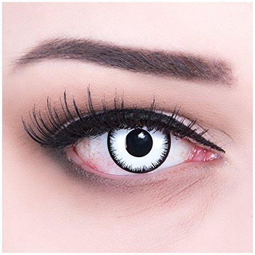 Meralens A0041 White Zombie Kontaktlinsen mit Behälter ohne Stärke, 1er Pack (1 x 2 Stück) (Weiße Perücke Spitze Vor)