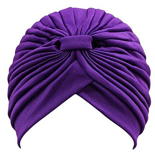 Qiao Nai (TM)Damen Yoga Turban Beanie Kappe Hut Mütze Kopftuch Kopfbedeckung Chemo Haarband Perücke Sonnenbad (Dunkel Lila)