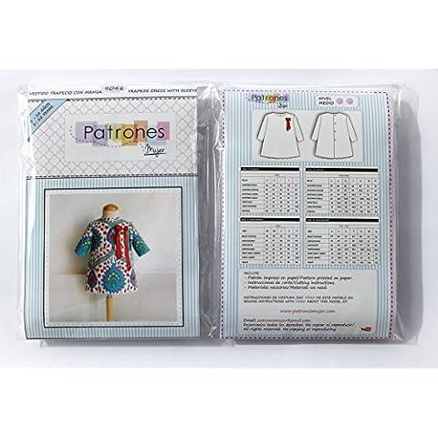 Patrón de costura vestido niña trapecio con manga, vídeo-tutorial para realizarlo. Talla 1 a 12 años. Patrón multitalla en papel.