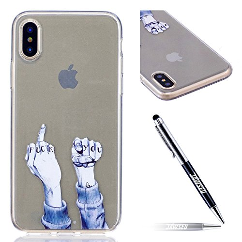 Custodia iPhone X Cover, JAWSEU iPhone X Cassa Caso Custodia Trasparente Flessibile Antiurto Colorato Cristallo Ultra Sottile Morbido TPU Gel Silicone Case Cover per iPhone X Gomma Clear Custodia Prot Dito
