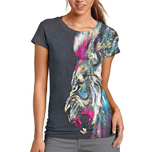 Bgejkos Wildlife Animal Lion Women's Yoga Aerobic Exercise Casual Soft T-Shirt -