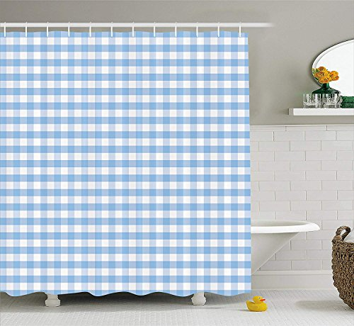 Mucuum Checkered Shower Curtain Little Squares and Stripes Pastel Color Gingham Repeating Rows Vintage Tile Fabric Bathroom Decor Set mit Hooks Light Blue