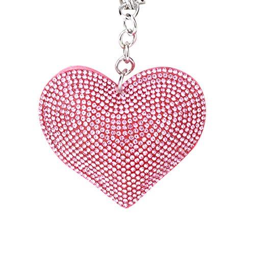 Tonpot - Llavero de Piel con Borla y diseño de corazón para cumpleaños o Amigos (Blanco), Franela, Rosa, 7 * 6cm