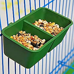 2en 1Doble) alimentación Bird Food Dish Agua Feeder cuenco con soporte para Parrot Macaw africana Greys Budgies periquito Cockatiels Conure jaula