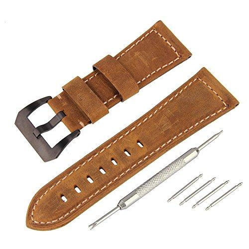 BEWISH 26mm matt Lederarmband Uhrenarmbänder Kalbsleder Ersatzband Echtes Leder 2 Ton Uhrarmband Edelstahl Metall Faltschließe Wechselarmband Uhr Armband Wrist Strap Band Replacement Uhrmacherwerkzeug
