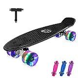 BELEEV Skateboard 22 inch Completo Mini Cruiser Retro Skateboard per Bambini, Giovani e Adulti, PU LED Ruote con all-in-One Skate T-Tool per Principiante (Nero)