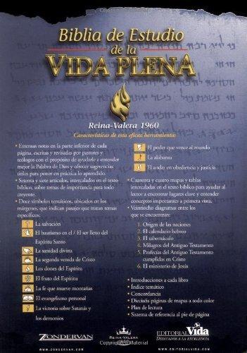 Rvr 1960 Biblia de Estudio Vida Plena, Tapa Dura por Zondervan Publishing