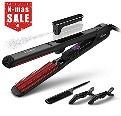 Steam Hair Straightener,Furiden Professional Salon Ceramic Flat Iron 2 in 1 for Hair Straightening and Curl with Worldwide Dual Voltage,Auto Shut Off,180?-230?,Black(110-240V) from Furiden