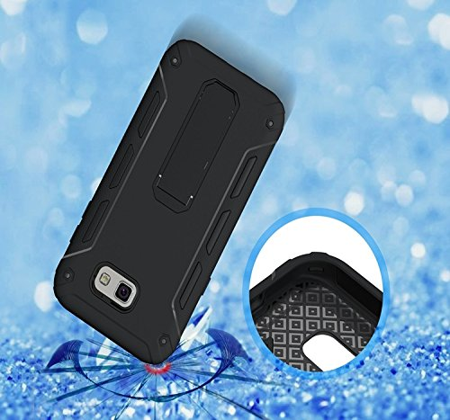 YHUISEN Galaxy J3 2017 Case, Cool Shockproof Rüstung Hybrid 2 In1 TPU und PC Rugged Dual Layer mit Kickstand Fall für Samsung Galaxy J3 2017 / Galaxy J3 Emerge ( Color : White ) Black