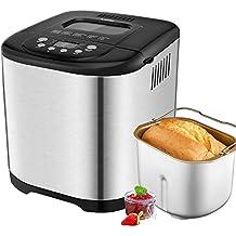 Aicok Panificadora, Máquina programable para hacer pan, Completamente Automática, 500-1000g, Máquina de Pan con Cubierta de Acero Inoxidable, 15 Horas Temporizador de Retardo, 15 Programas para el pan
