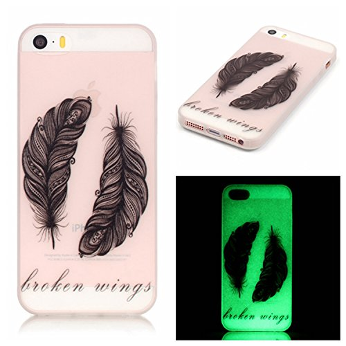Meet de Apple iphone 6 Plus / iphone 6S Plus Noctilucent-TPU Housse silicone ,Coque pour Apple iphone 6 Plus / iphone 6S Plus Soft TPU Doux Silicone / Bumper Case /téléphone portable Case / Doux Houss black Feather