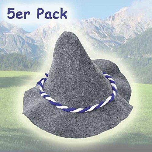 Seppelhut Grau mit Kordel blau/weiß, 5er (Mardi Gras Hut)