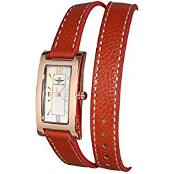 Damen Armband Armbanduhr Double Tour Leder braun Zifferblatt Kupfer Michael John