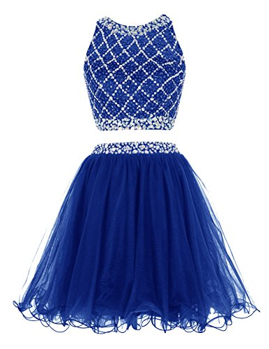 Dresstells Damen Kurz Tüll Blinken Modern Party Kleider Mit Friesen Royalblau