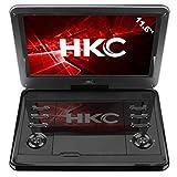 HKC D12HM: 30 cm (12 Zoll) tragbarer DVD-Player (HD Ready 1.366 x 768, eingebauter Akku, SD-Karten-Slot, USB-Anschluss, Fernbedienung, Kfz-Ladekabel), schwarz
