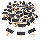 Pack de 50pcs Mini Clip Pinza de Madera con Tablero de Pizarra de Tiza para Dejar Mensaje Recordatorios Nota