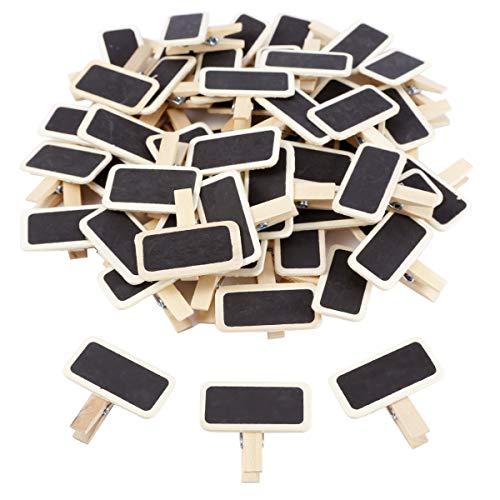 Anladia 50 Mini Tableau noir bois message rectangle ardoise A pince clip linge carte panneau mémos étiquette prix marque place numéro table