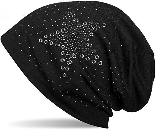 styleBREAKER Beanie Mütze mit Stern Nieten und Strass Applikation, Lochnieten, Unisex 04024049, - Mütze Aus Gestrickte Baumwolle