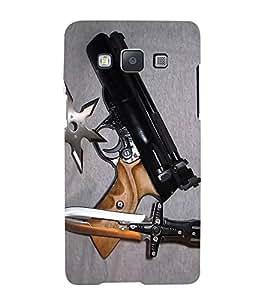 Fuson Designer Back Case Cover for Samsung Galaxy A3 (2015) :: Samsung Galaxy A3 Duos (2015) :: Samsung Galaxy A3 A300F A300Fu A300F/Ds A300G/Ds A300H/Ds A300M/Ds (Gun Knife weapons War Armament)