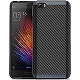 Xiaomi 5 Funda, HICASER Carbon Fiber Choque Absorción Protección Silicona Carcasa para Xiaomi Rice 5 Mi5 Flexible PC Bumper Frame + TPU Case Gris