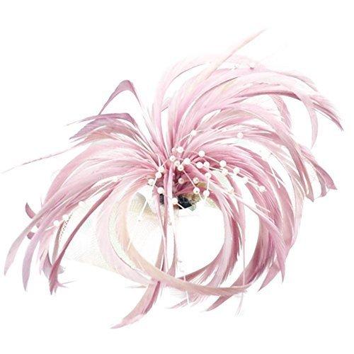 Voile con fiocco, colore: rosa e piume con becco Spilla