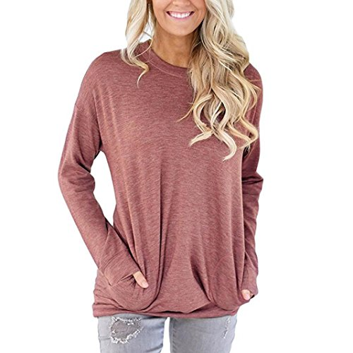 Chemisiers T-Shirts Tops Sweats Blouses,Femme Casual Manches Longues en Coton Plein de Poches T-Shirt Chemisiers Hauts red