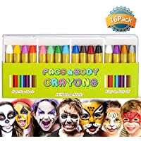 Rmeet Face Paint Crayons,16 Pack Face and Body Painting Crayon Kits Non-Toxic Face Paint Sticks for Kids Children Halloween Makeup Party Play Safe for Sensitive Skin