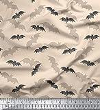 Soimoi Weiß modaler Satin Stoff Schatten & Fledermaus Tier