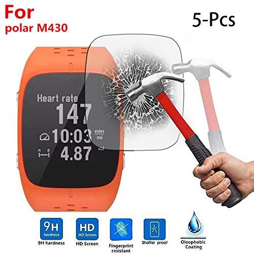 Wawer 5 Stücke Bildschirmschutz Abdeckung Gehärtetem Glas Film Display Schutzfolie für Polar M430 Sport Smart Watch JUN-12A (5Pcs)