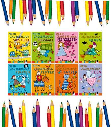 8x kleine Zaubermalblöcke im SUKU Design, für Jungen + Mädchen, Ritter, Prinzessin, Fee, Katze, Bauarbeiter, Fussball, Hexe