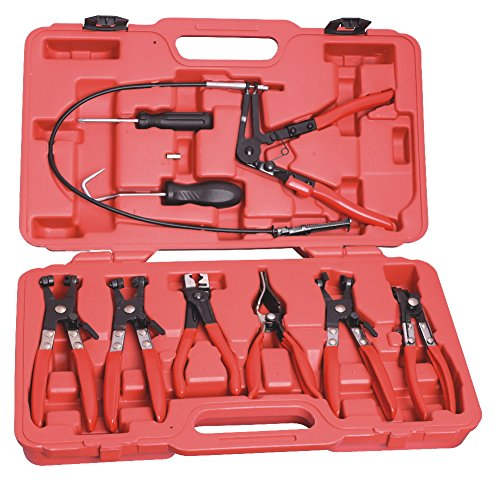DWT-Germany 100116 9 Tlg Schlauchklemmenzange Schlauchschelle Schlauchklemmen Zange Spezial Zange Werkzeug Schlauchschellen KFZ Set inkl. Koffer