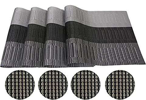 Famibay Placemats With Coasters PVC Weave Place Mats For Dinner Table Mats and Coasters for Dining Table Set of 4 - 30x45 cm (Black Coasters