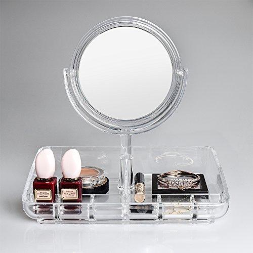 GlobaLink ®Spiegel Damen Kosmetik Aufbewahrung Kosmetikbox Make-up Organizer für Lippenstifte, Nagellacke, Nagellacke, Kosmetikpinsel und Puderdose zur Aufbewahrung
