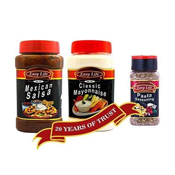 Easy Life Combo Pack of Mexican Salsa 350g and Classic Mayonnaise 315g with Pasta Seasoning 30g