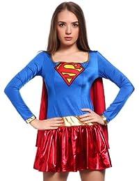 Super Girl superwoman Superheldin Damen Halloween Kostuem mit Umhang f. Karneval Party Mottoparty