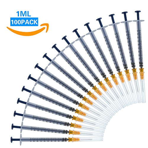Spritzen 100 Pack 1ml 27G mit Nadeln und Kapseln, sterile Einwegspritze für den Veterinäreinsatz, einzeln steril verpackt (1ML-100)