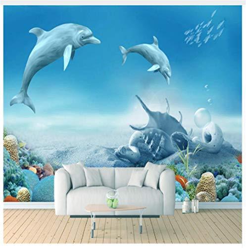 Fototapete Vlies Tapete Wanddeko 3D-Raum Wallpaper Dolphins Und Coral Reef Für Kinder Verdickt Geprägte Wasserdichte Wohnzimmer Tv Hintergrund Dekor Non-Wove, 400Cmx280Cm