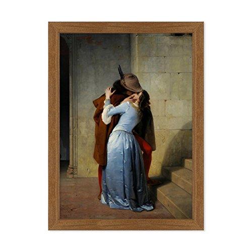 ConKrea Poster MIT Cornice - Quadro - Arte - IL Bacio - The Kiss - Francesco Hayez - Brera Dimensione: 50x70cm A - Colore Mogano Tradizionale