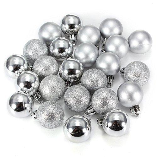 Toogoo(r) 24 pezzi chic natale di baubles albero scuro glitter xmas ornamento palla decorazione - argento