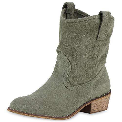 SCARPE VITA Damen Stiefeletten Cowboy Boots Western Schuhe Wildleder-Optik Westernstiefel Holzoptik Cowboystiefel 175758 Dunkelgrün 41