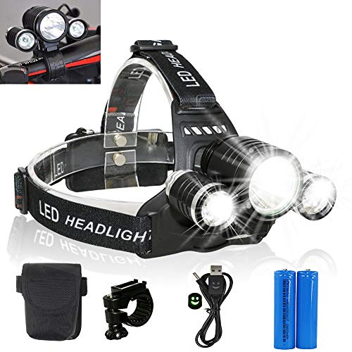 2-in-1 Removable 3*XM-L T6 LED Head Torch Portable Bicycle Light Rechargeable Waterproof 4 Modes Headlight 5000LM Headlamp for Riding Night...