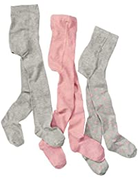 wellyou baby/kinder strumpfhosen für mädchen, baby-strumpfhose/kinder-strumpfhose rosa, grau mit Punkten, hoher Baumwoll-Anteil 3er set