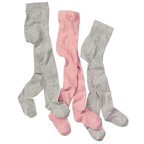 wellyou Kinder-Strumpfhose-baby für Mädchen 3er Set, Baby-Strumpfhosen rosa, grau mit Punkten, hoher Baumwoll-Anteil