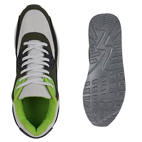 Herren Sportschuhe Laufschuhe Sneakers Runners Profilsohle Weiss Grün oE6nvTo