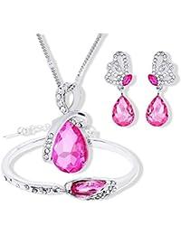 89812c3bda72 Scrox 3pcs Juego de Joyas Mujeres Plata Conjunto Joyería Collar Cristales  Angel lágrimas Colgante Rhinestone Pulsera